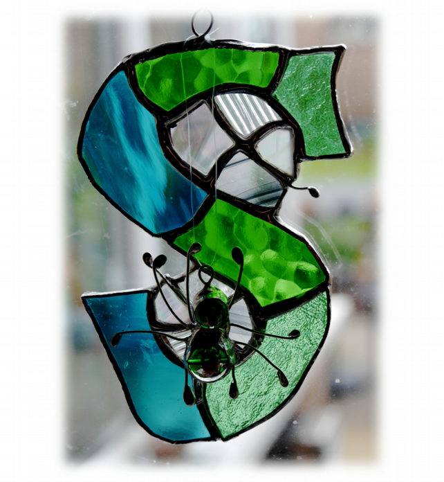 Alphabet Suncatcher Stained Glass S is for Spider