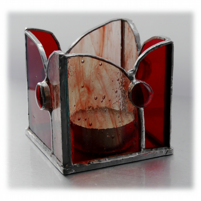 Candle Holder Box Stained Glass Handmade Red Votive Card