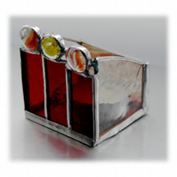 Candle Box Stained Glass Handmade Red Votive small