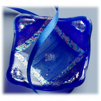 Fused Glass Trinket Dish 7.5cm Blue Deep Dichroic 021
