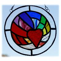 Rainbow Heart Ring Stained Glass Suncatcher 002