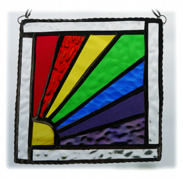 Framed Rainbow Suncatcher Stained Glass Handmade Square 002