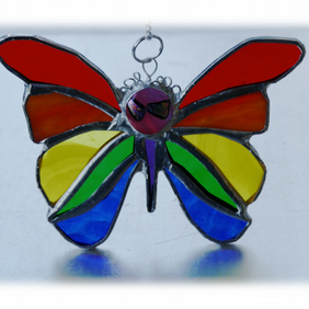 Rainbow Butterfly Suncatcher Stained Glass