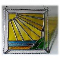 Sunny Seaview Stained Glass Suncatcher Picture Handmade