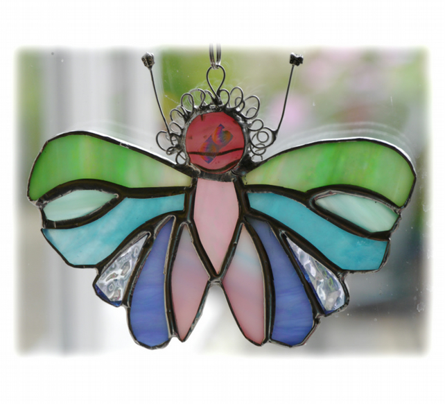 Pastel Butterfly Suncatcher Stained Glass Handmade 076