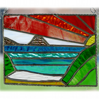 Sea View Panel Stained Glass Picture Landscape Sunset  002