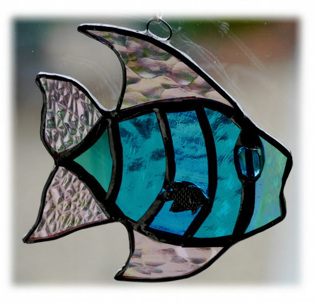 Tropical Fish Suncatcher Stained Glass Handmade Turquoise 016