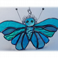 Teal Butterfly Suncatcher Stained Glass Handmade Turquoise 077