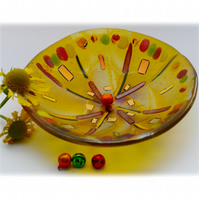 Fused Glass Bowl Round 12.5cm Golden Yellow Dichroic 021