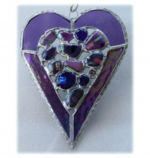 Heart Suncatcher Stained Glass Purple Abstract Fused 015