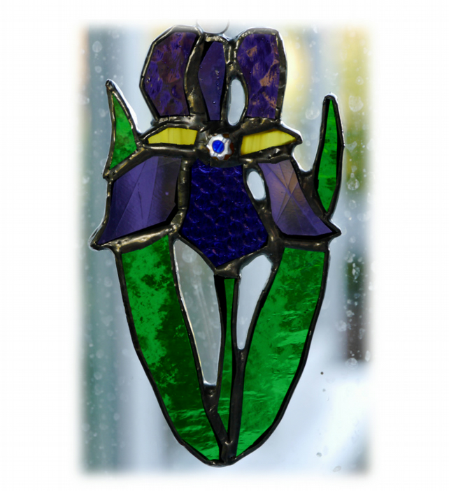 Iris Suncatcher Stained Glass Purple Flower 018