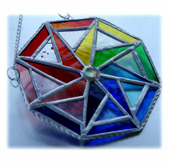 Rainbow Triangle Star Stained Glass Suncatcher Octagon 003