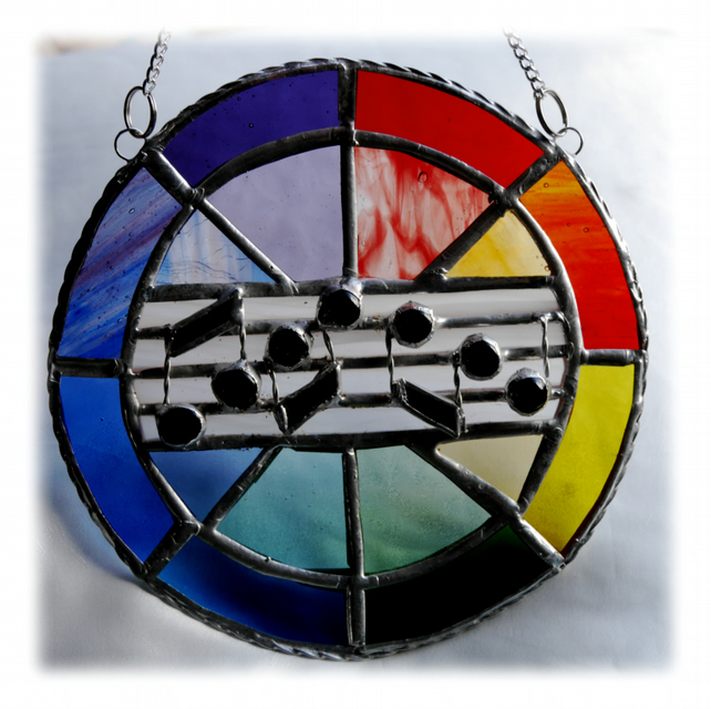 Sing a Rainbow Stained Glass Suncatcher Musical Notes 003