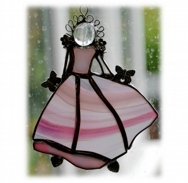 Princess Suncatcher Stained Glass Suncatcher Cinderella Dancer Pink 008