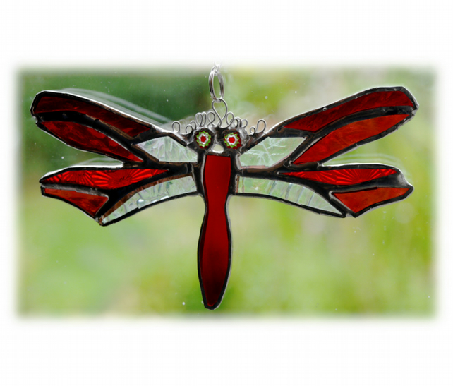 Dragonfly Suncatcher Red Handmade Stained Glass 043