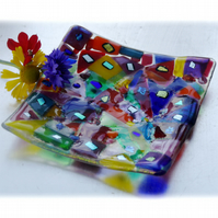 Candle Plate Fused Glass 12cm Patchwork Rainbow Dichroic