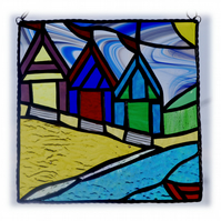 Beach Hut Picture Stained Glass By the Sea Suncatcher Handmade 010