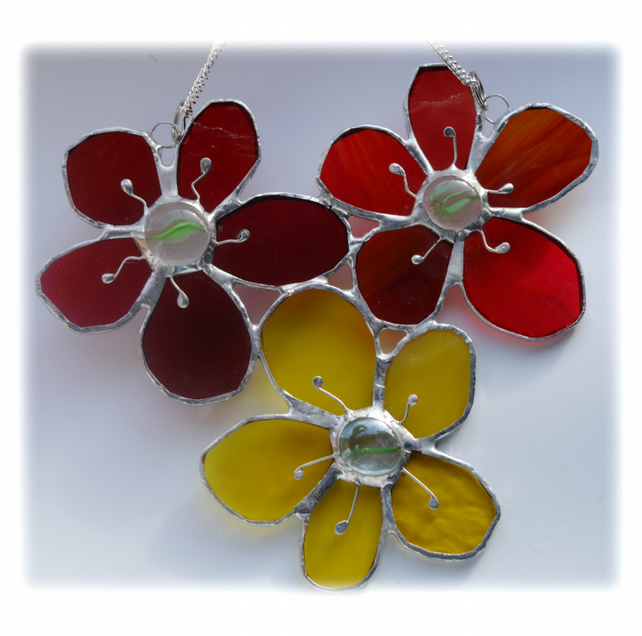 Bunch of  Dahlias Stained Glass  Suncatcher Flowers 005