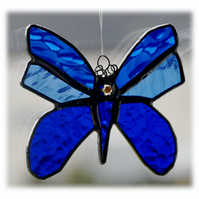 Butterfly Stained Glass Suncatcher Blue 048