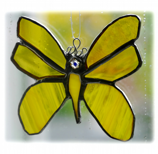 Butterfly Stained Glass Suncatcher Yellow 049