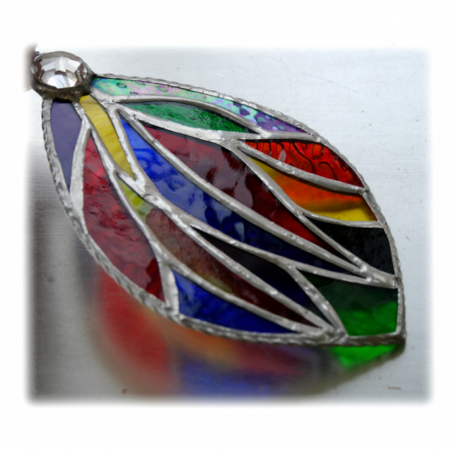 Ribbon Drop Stained Glass Suncatcher Handmade Rainbow Leaf 003