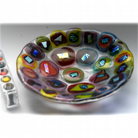 Fused Glass Bowl Round 12cm Rainbow Blobs  Dichroic 022