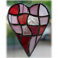 Patchwork Heart Suncatcher Stained Glass Handmade Pink 028