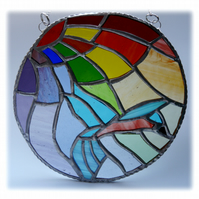 Kingfisher Rainbow Ring Stained Glass Suncatcher