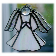 Angel Suncatcher Stained Glass White Shiny 018