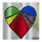Love Heart (Rainbow) Stained Glass Suncatcher 8cm 029