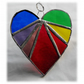 Love Heart (Rainbow) Stained Glass Suncatcher 8cm 030