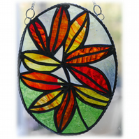 Autumn Leaf Oval Stained Glass Suncatcher