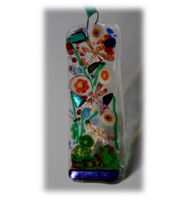 Fused Glass Art Lghtcatcher Pop 014 Green Dragonfly Dichroic