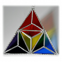 Rainbow Triangles Stained Glass Suncatcher Geometric