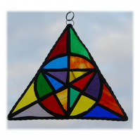 Patchwork Rainbow Triangle Stained Glass Suncatcher Geometric