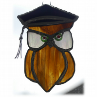 Graduation Owl Suncatcher Stained Glass Handmade 003