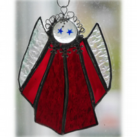 Angel Suncatcher Stained Glass Red Christmas