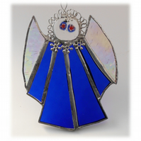 Angel Suncatcher Stained Glass blue Christmas 004
