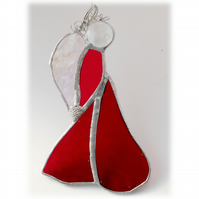 Angel Suncatcher Stained Glass Heart Red Christmas 007