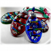 Bauble Oval Fused Glass  Christmas Tree Decoration Dichroic