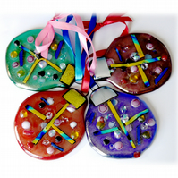 Bauble Round Fused Glass  Christmas Tree Decoration Dichroic