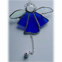 Angel Bell Suncatcher Stained Glass Blue 036