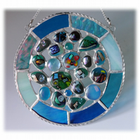 Rockpool Suncatcher Stained Glass Abstract Handmade fused 014