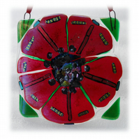 Poppy Fused Glass Picture Remembrance