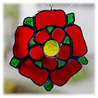 Lancashire Rose Suncatcher Stained Glass Red Handmade 032