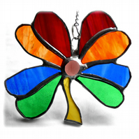 4 Leaf Clover Suncatcher Stained Glass Rainbow Luck