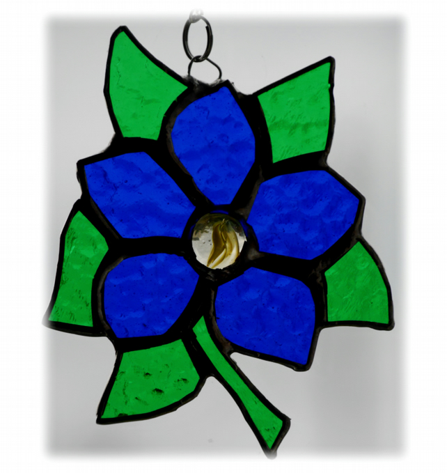 Clematis Suncatcher Stained Glass Flower