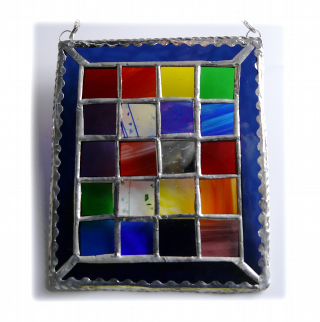 Rainbow Window Stained Glass Suncatcher Handmade Patchwork Geometric 006