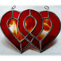 Entwined Heart Suncatcher Stained Glass Red Ruby Wedding 007