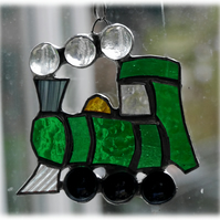 Steam Train Suncatcher Stained Glass Green Handmade Engine 010